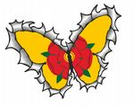 Ripped Torn Metal Butterfly Design With Lancashire Rose County Flag Motif External Vinyl Car Sticker 125x90mm